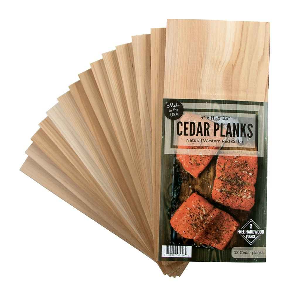 Cedar Grilling Planks 12 Pack Plus 2 Free Alder Planks Western Red Cedar 5 x 11 Inches Size for 2-4 Servings - Cook Salmon, Vegetables, Pork Chops and More by Wood Fire Grilling Co.