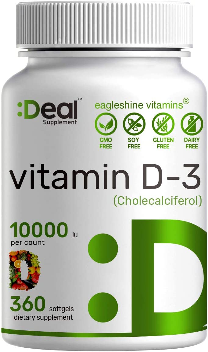 Sunshine Vitamin D - Vitamin D3 10000 IU, 360 Softgels, One Year Supply, Support Healthy Muscle, Bones, Teeth and Immune System - Extra Strength Vitamin D Supplements