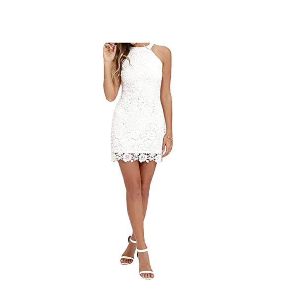 Ygosoon Lace Dress Halter Crochet Women White Dresses New Plus Size Robe at Amazon Womens Clothing store: