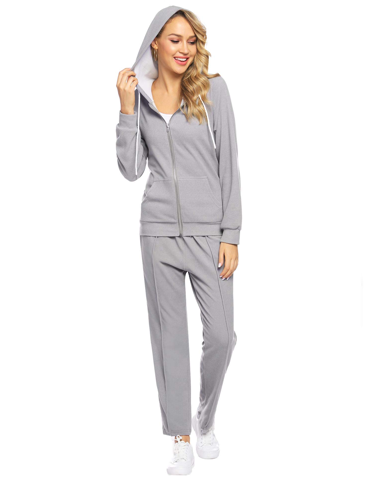 Abollria Women's Velour Sweatsuit Set Zip up Hoodie and Pants Sport Suits Tracksuits Light Grey by Abollria
