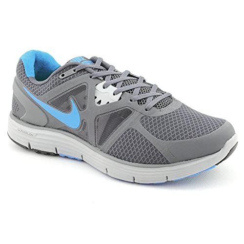 7444ebced41e Nike LunarGlide Plus 3 Mens Running Shoes Grey Blue 12 UK UK  Amazon ...