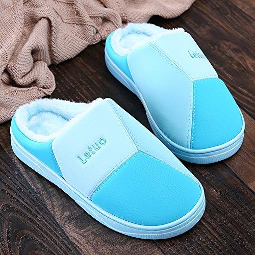 Maison Chaud Mousse Lavable Confortable D'intérieur Coton Légère Pantoufles Peluche Icegrey Bleu Unisex Chaussons En Doublure 4q7wSO