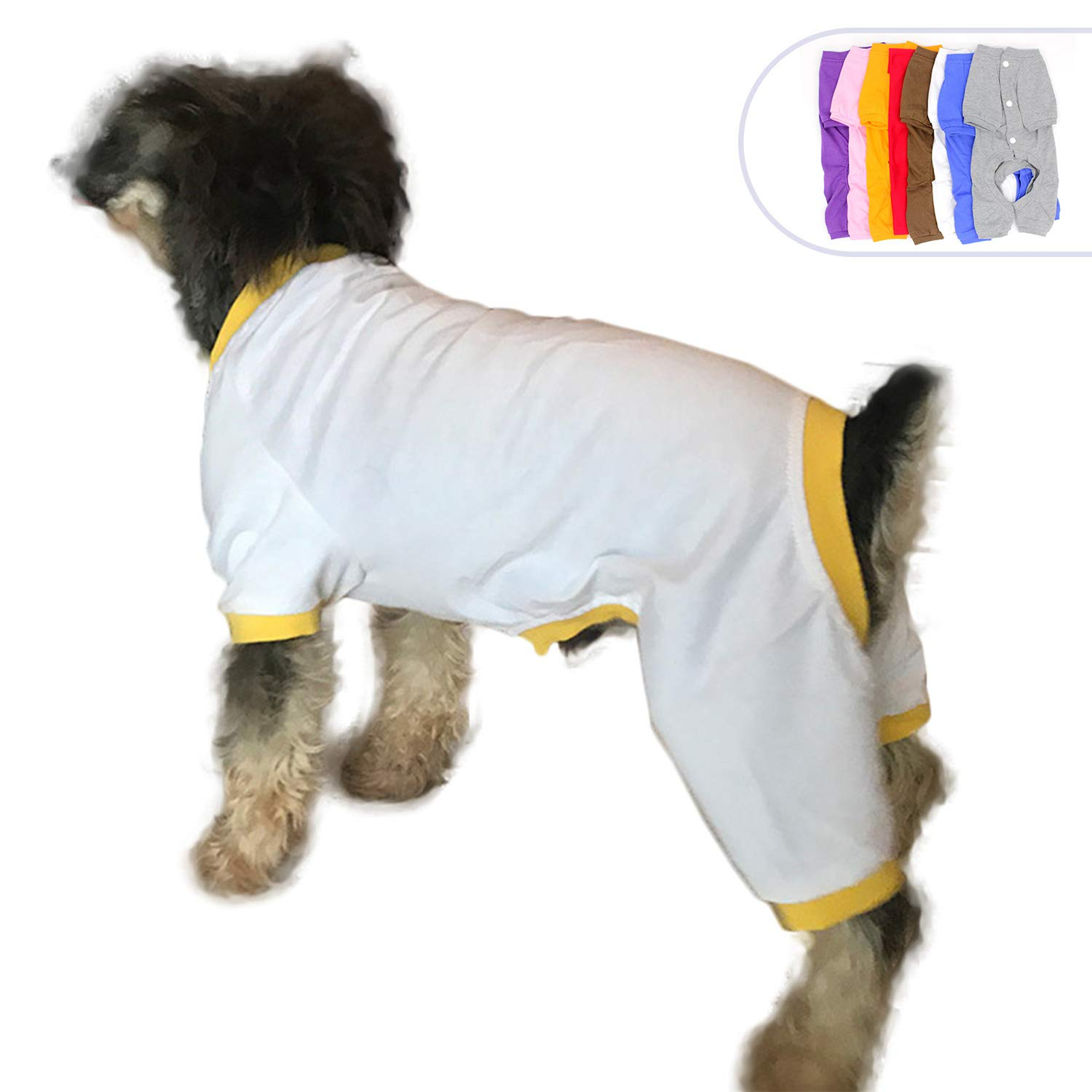 Bianco -giallo XS (piccolo cane) Bianco -giallo XS (piccolo cane)  lolonglong Pet Clothes Dog Clothes Pajames T -Shirts Tee Shirt per Small Size Dogs 100% Cotton Dog Four Legs Jump Suit Teddy Jump for  hua DBR -006 (XS, White)