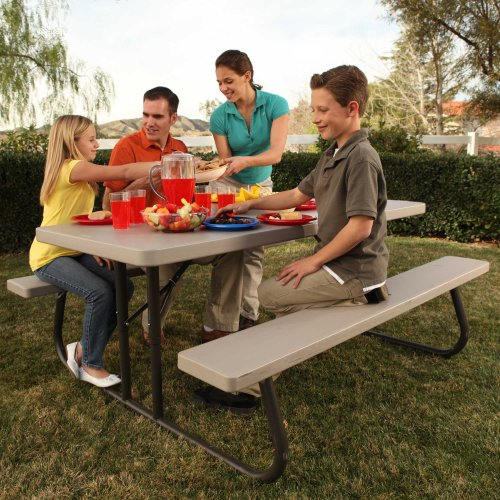 081483221199 - Lifetime 22119 Folding Picnic Table, 6 Feet, Putty carousel main 6