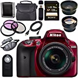 Nikon D3400 DSLR Camera with AF-P 18-55mm VR Lens (Red) + Sony 128GB SDXC Card + Carrying Case Bundle