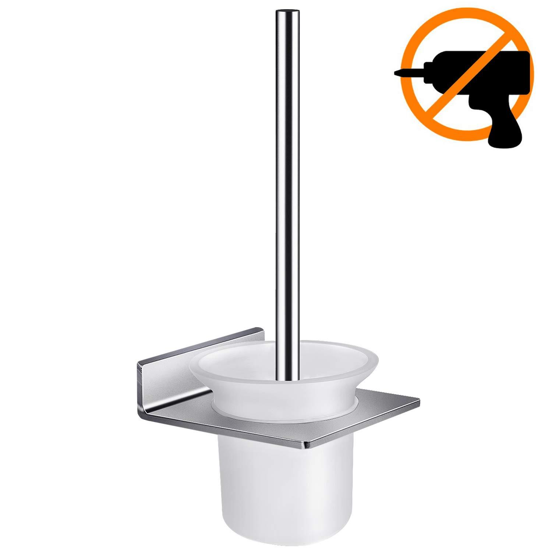 hblife WC Scopino e Porta Scopino da Parete Colla 3M + Autoadesivo 3M Alluminio e Vetro Finitura Opaca