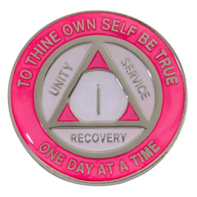 AA Coins - 17-Year - Pink-Pearl (Glow-in-the-dark) Medallion   RecoveryShop: Home Improvement