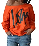 Womens Off Shoulder Pullover Sweatshirt Love Letter Printed Large Orange