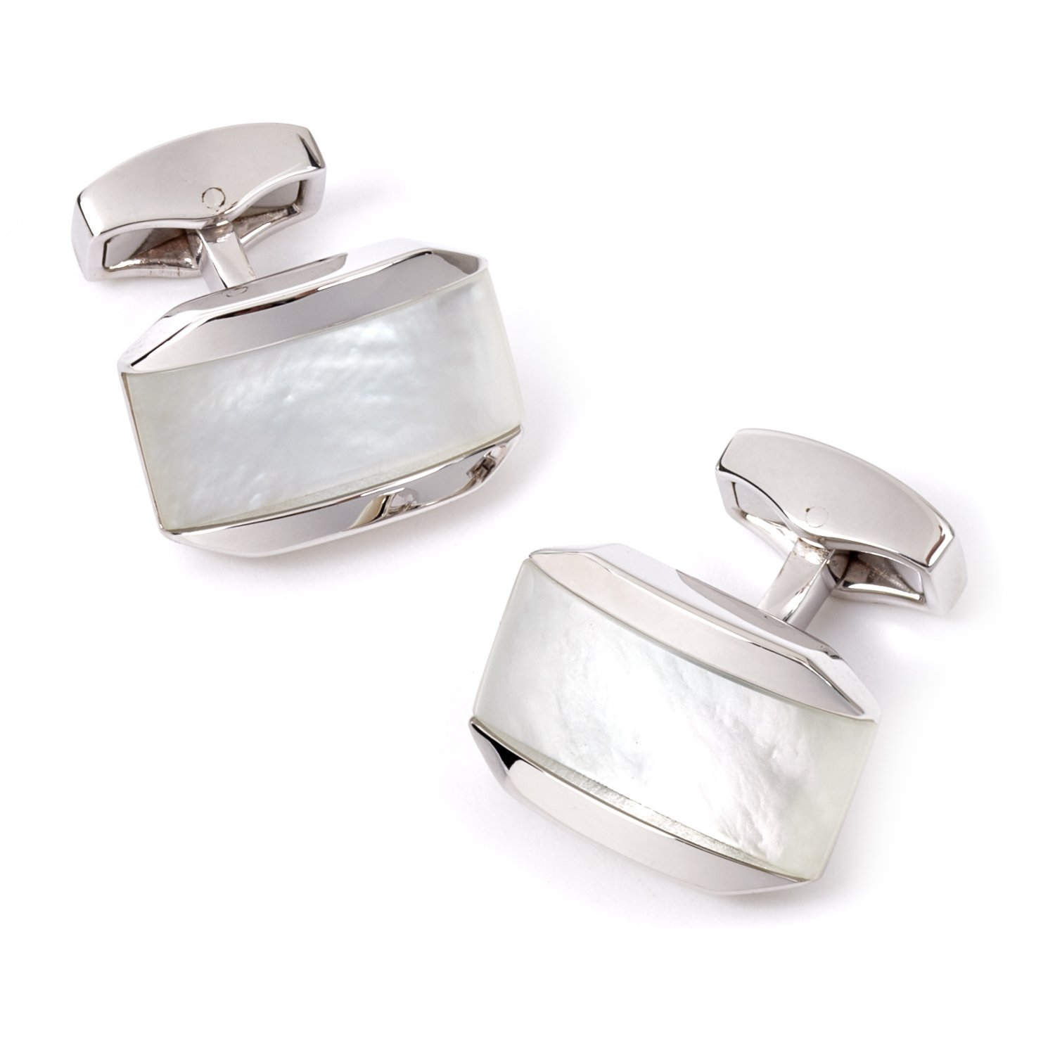 Tateossian Moonlight Cufflinks with Mother of Pearl combined with a Cabochan of Quartz in a Rhodium Silver Tonneau Case, White