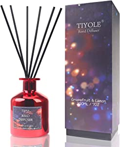 TIYOLE Reed Diffuser for Home, Reed Diffuser Oil Sticks Set for Bathroom Bedroom, Grapefruit Lemon and Bergamot Notes, Home Aromatherapy Fragrance Gifts 7Oz(200ml)