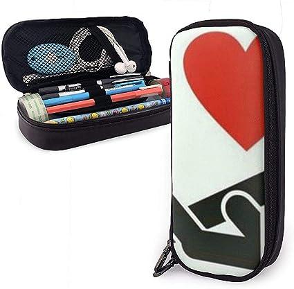 Me gusta hacer el amor Estuche de lápices de cuero lindo de la PU 20X9X4cm Bolso con cremallera doble Bolsa de lápices para oficina escolar Niñas Niños Adultos: Amazon.es: Oficina y papelería