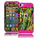 Bastex Hybrid Hard Case for Apple Ipod Touch 5, 5th Generation - Hot Pink Silicone Cover / Brushy Camo Hard Shell