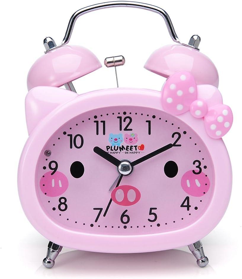 Plumeet Reloj Despertador con Campanas gemelas para Niños Marca Silencioso (sin Tic-TAC) con Tema de Caricatura, operado con baterías (Rosa)