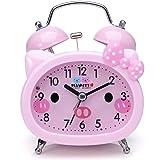 Plumeet Twin Bell Alarm Clock for Kids, Silent Non-Ticking Cartoon Quartz Loud Alarm Clock for Girls, Cute, Handheld Sized, Backlight, Battery Operated (Pink)