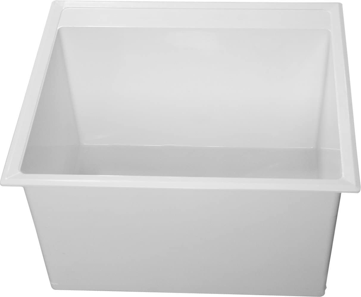 Laundry Tub, Wall, White, 20 In L, 24 In W