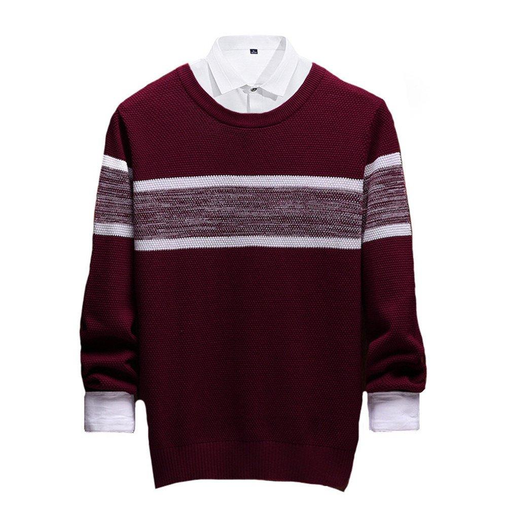 Jdfosvm männer langärmelige Pullover Pullover langärmelige lässig Pullover gestreiften Pullover - t - Shirt aus Stimmen überein,Rotwein,l ebeb79