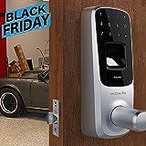 Electronics : Ultraloq UL3 Fingerprint and Touchscreen Keyless Smart Lever Door Lock (Satin Nickel)
