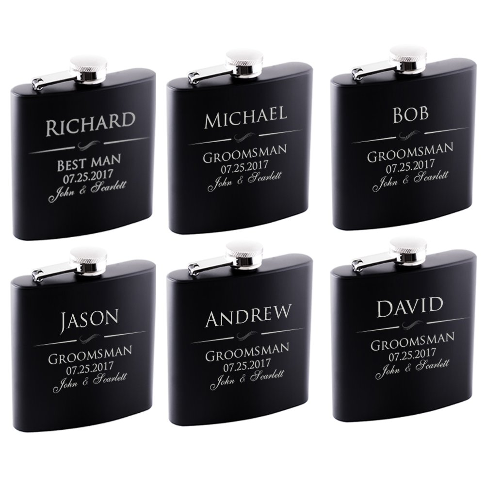 P Lab Set Of 6 - Groomsmen Gift - Groomsman Gifts For Wedding, Wedding Favor Customized Flask Set w Optional Gift Box - Engraved 6oz Stainless Steel Flask Custom Personalized Flask Gift Set, Black #1
