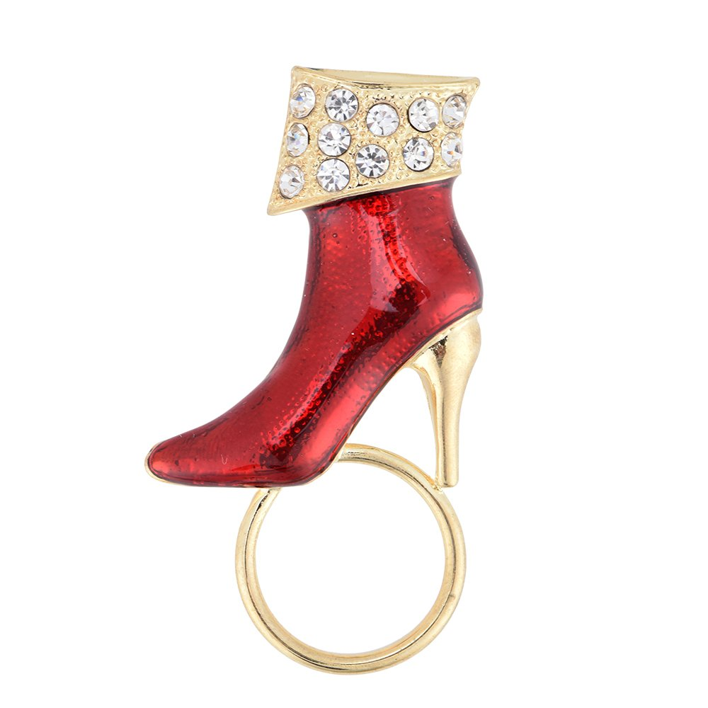 PANGRUI Exquisite Red High Heels with Crystal Rhinestones Magnetic Eyeglass Holder Brooch Pin (Gold)