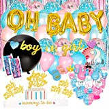 Baby Nest Designs Gender Reveal Party Supplies (116 Pieces) With The Original Gender Reveal Balloon! Boy or Girl Banner, Foil Balloons, Tinsel Curtain, Photo Props, Cupcake Topper, Mom to be and More!