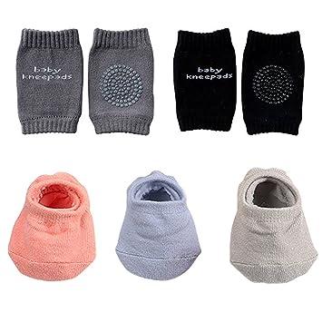 12 Pairs Baby Crawling Anti-Slip Knee Pads and Anti-Slip Baby Socks Set Unisex Toddler Knee Protectors Non Slip Ankle Socks for All Season