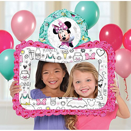 Anagram International, Inc. 92041 Minnie Happy Helpers Selfie Frame-Consumer Inflated Party Balloon, 27