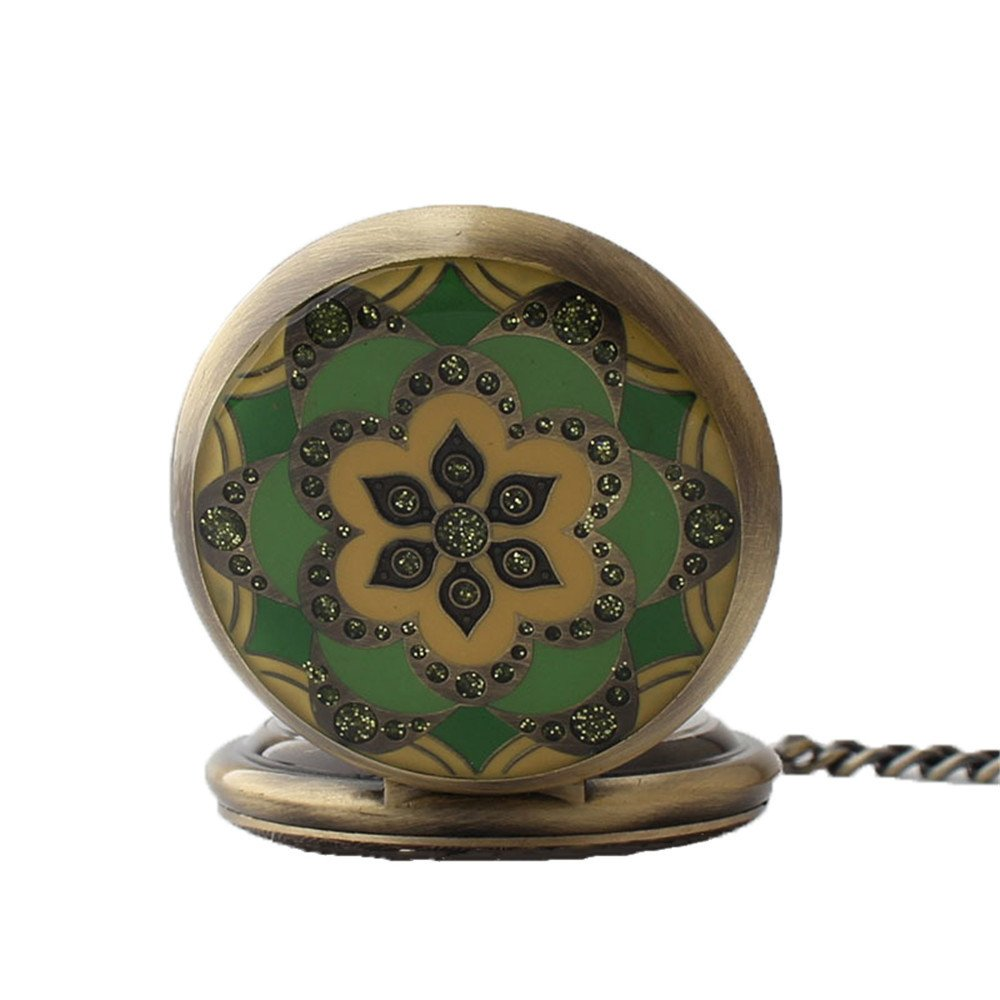 Zxcvlina Classic Smooth Creative Flower Carved Retro Pocket Watch Green Watchcase Bronze Mechanical Pocket Watch with Chain Women's Gift Suitable for Gift Giving by Zxcvlina (Image #2)