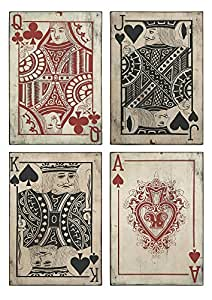 IMAX 97028-4 Leonato Playing Card Wall Decor – Durable Iron Cards for Accentuating Wall, Vintage Inspired Wall Art. Home Decor