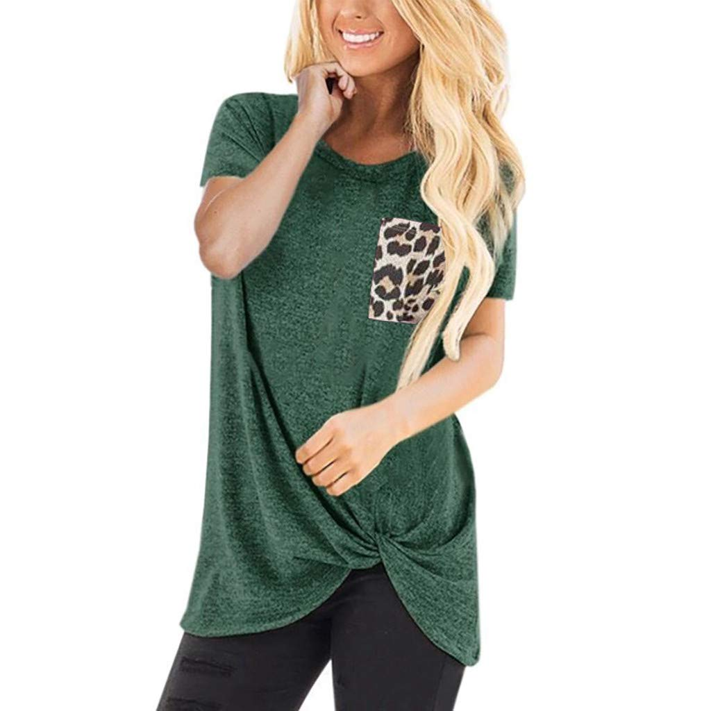 Blouses for Womens, FORUU Clover Ladies Sales 2019 Under 10 Best Gift for Girlfriend Casual Leopard Short Sleeve O Neck Twist Knotted Tops T- Shirt
