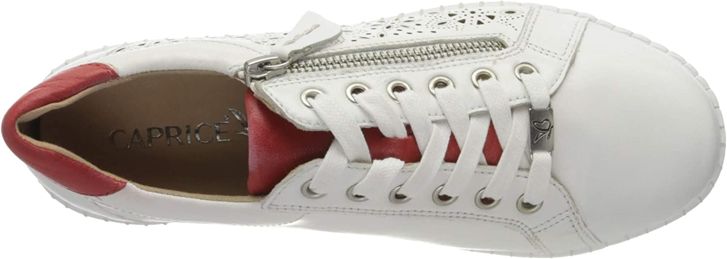 CAPRICE Inna, Sneakers Basses Femme Blanc White Red 151