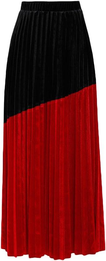 Falda Terciopelo Primavera Costura Negra Y Roja Color De Impacto ...