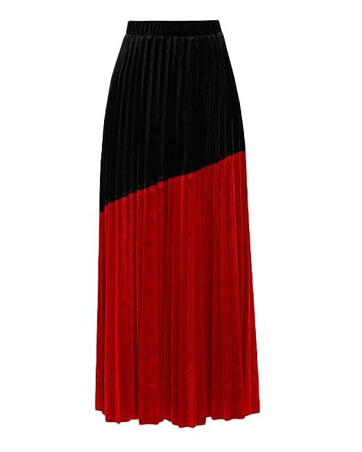 5da4dc4a4f027 Falda Terciopelo Primavera Costura Negra Y Roja Color De Impacto Cintura  Alta Falda Plisada Cintura Elástica Salvaje  Amazon.es  Ropa y accesorios