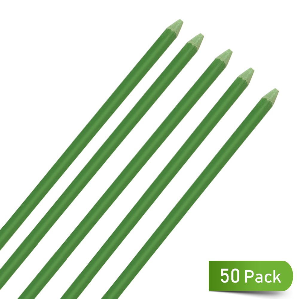 BrightMarker UniEco Fiberglass Garden Stake Plant Stakes for Staking Tomatoes 4ft 50 Pack