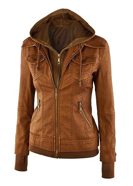 478a38f6881 Minetom Invierno Cremallera Jackets Chaquetas Cuero Moto Cazadoras  Imitacion con Capucha para Mujer (ES 36