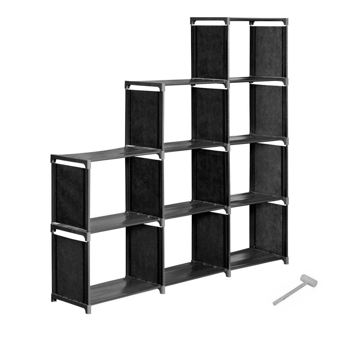 INLYF 4-Tier Storage Cube Closet Organization System, 9-Cube DIY Bookshelf Cabinet Without Doors for Clothes, Toys, Books and Shoes (Black)