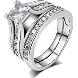 Jiang Guanyu Gy Jewelry Princess Zircon White Gold Filled Women's Wedding Ring Sets Engagement Rings