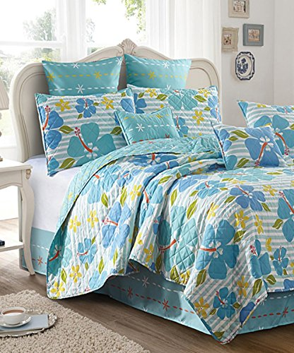Coastal Collection Aloha Island Paradise Tropical Hibiscus Floral Stripe 3pc King Size Quilt Set