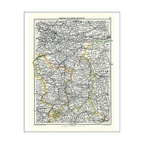 Media Storehouse 10x8 Print of Antique map, West Yorkshire, Derby, Nottingham, Lincoln, 19th Century (15107371) ()