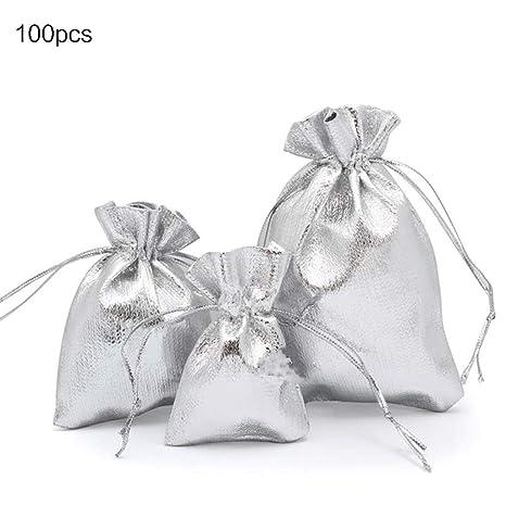 GuanjunLI - 100 bolsas de organza plateadas y doradas con ...