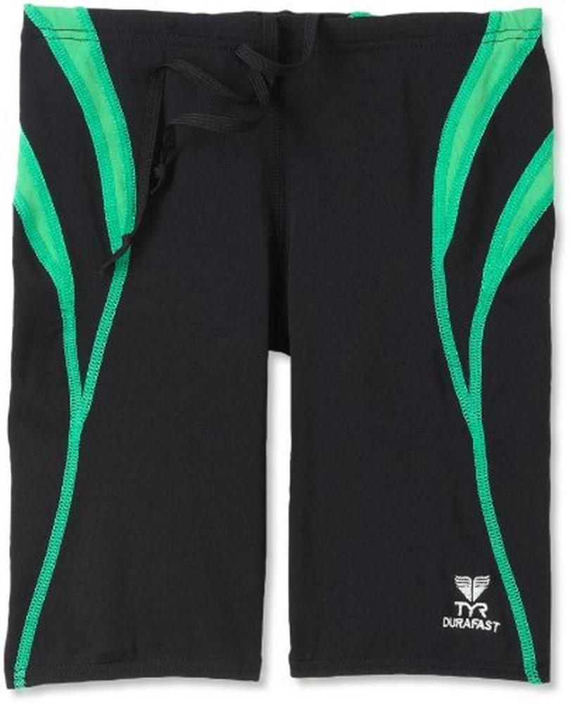 TYR Mens Alliance Durafast Splice Jammer Swim Suit, Black/Green, 36