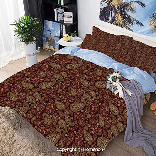 Homenon 3-Piece Bed,Oriental Damask Ethnic Leaves Middle Age Ottoman Art Inspired Boho Design Decorative,Queen Size,100% Microfiber Super Soft,Breathable,Redwood and Amber