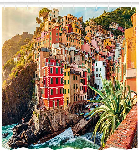 Ambesonne Italy Shower Curtain, Riomaggiore at Sunset Cinque Terre National Park Cliff and Coast Scenic Panorama, Cloth Fabric Bathroom Decor Set with Hooks, 70