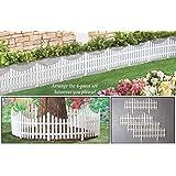 Flexible White Picket Fence Garden Borders - Set Of 4