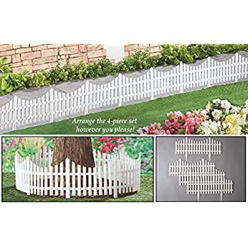 Collections Etc Flexible White Picket Fence Garden Borders   Set Of 4