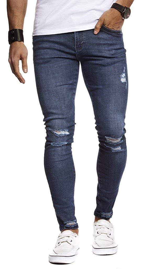 LEIF NELSON Hombre Jeans Jeans 5 Bolsillos Destruido Estiramiento Usado Pantalones de Mezclilla LN9145