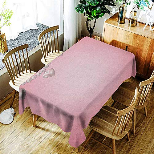 XXANS Tablecloth,Pearls,Heart Pearl Necklace Design Vintage Accessory Love Valentines Celebrating Artwork,Dinner Picnic Table Cloth Home Decoration,W60x120L Beige Pink (Heart Clemson Necklace)