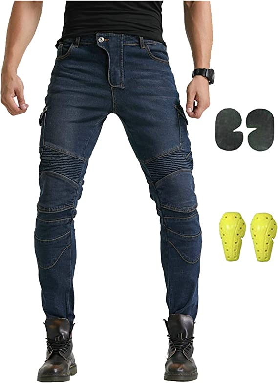 YOUCAI Jeans Pantalones Vaqueros de Moto Pantalones de Motociclista Hombres con Forro Protector de Rodilla Y Cadera,S,Azul