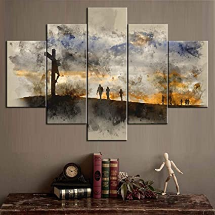 Pictures For Living Room Easter Gifts Artwork For Walls Canvas People Walking Up Hill Towards Jesus Pictures Modern Artwork Painting 5 Piece Wall Art