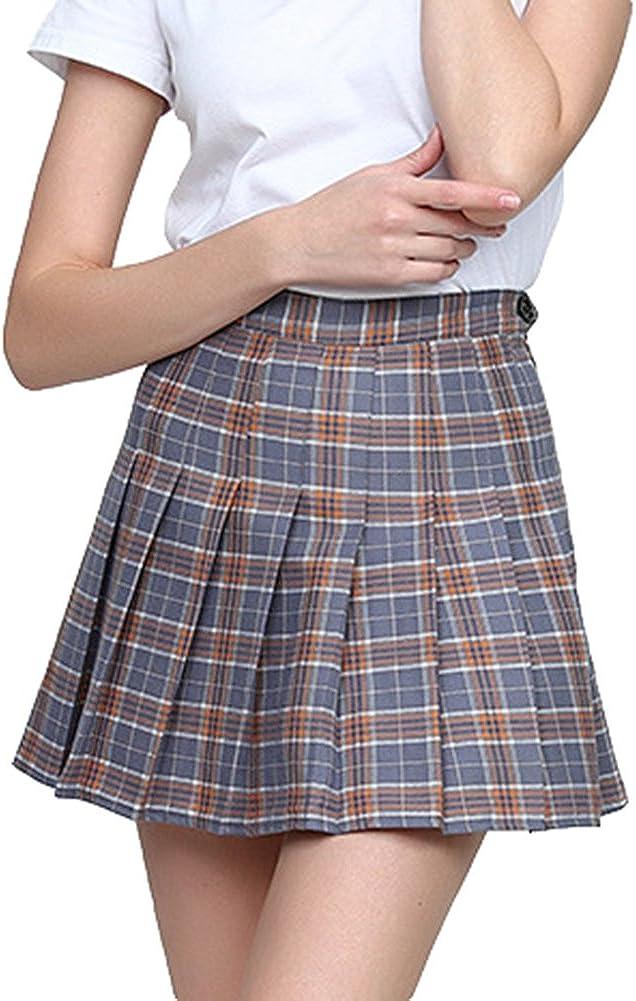 Hibote Moda Harajuku Cintura Alta Faldas Cortas Plisadas Mujeres Estilo Preppy Uniformes Escolares Kawaii Plaid Mini Falda