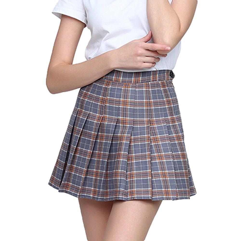 TALLA XL. Hibote Moda Harajuku Cintura Alta Faldas Cortas Plisadas Mujeres Estilo Preppy Uniformes Escolares Kawaii Plaid Mini Falda